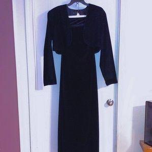 Long Black Velvet Strapless Dress & Bolero Jacket